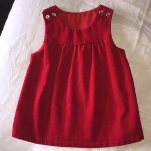 Adorable Vintage Red Velvet Dress w/ Gold Buttons